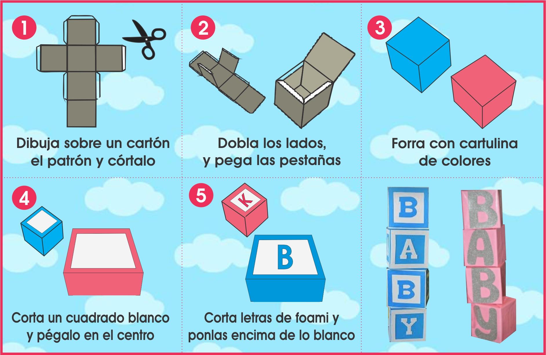 Cubos de cartón para Baby Shower