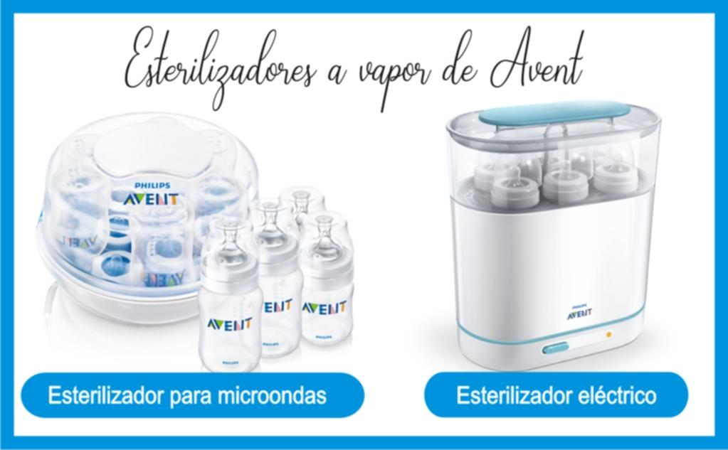Esterilizadores a vapor de Avent para botellas de vidrio