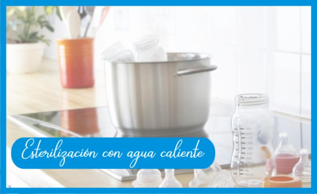 Esterilización con agua caliente de teteros avent