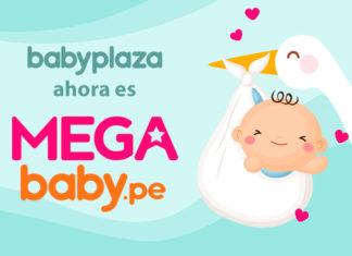 Logo baby plaza y mega baby con dibujo de cigüeña con bebé