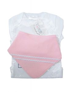 Cloud Baby - Set Regalo 2 body m/larga T.6-9M + Babero Bandana rosa Rayas blancas