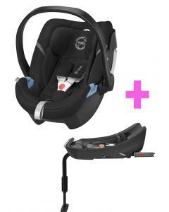 Cybex - Silla de Auto Aton 4 Happy Black con Base 2 Fix