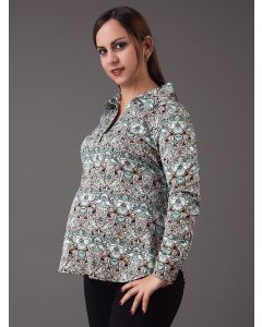 Blusa Chalis Cuello Camisa Flores - Maternity