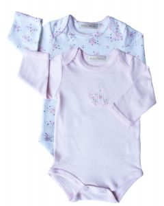 Pack De 2 Bodies M/Larga Blanco Rosa - Baby Club Chic