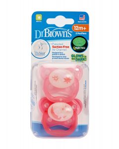 Set x2 Chupones PreVent  12m+ Brilla Oscuridad Rosa Luna - DR. BROWNS