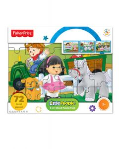 Fisher Price - Pack 3 Rompecabezas Madera (72 pzas total) Granjita