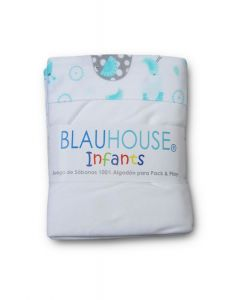 Juego de Sábanas Pack and Play BlancasTurquesa Zoo - BLAUHOUSE