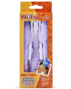 Set Cepillo Dental x3 Unid. Morado Para 3m+ - Nuby